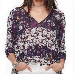 Free People XS Isabelle Tunic Floral V Neck  top